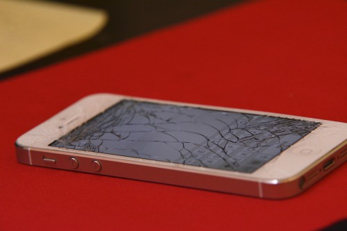 A cracked iPhone screen after a bad breakup.