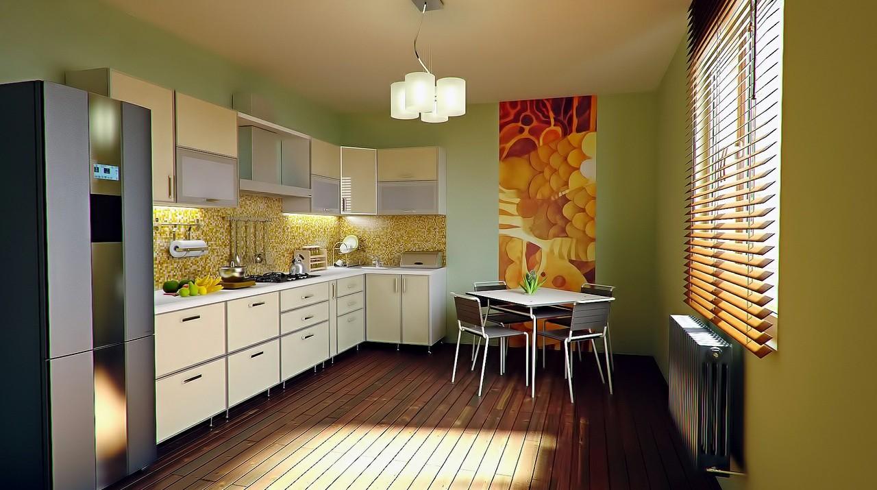 An interior shot of a tidy kitchen.