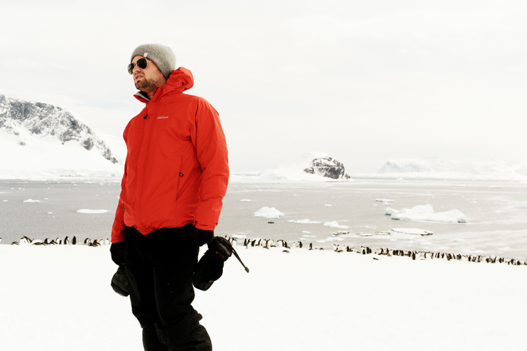 Photographer and MakeSpace customer Collin Hughes is bundled up in Antarctica.