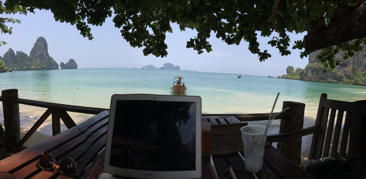 Tyler Tringas' office between the Tonsai Cliffs in Thailand.