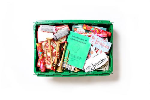The MakeSpace storage bin of Ashley Albert, owner of the Royal Palms Shuffleboard Club in Brooklyn, NY.
