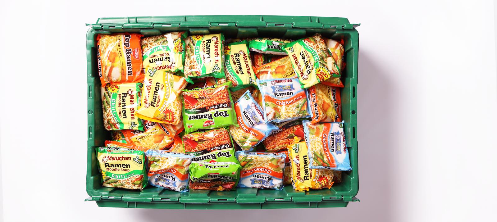 A MakeSpace storage bin full of ramen packets