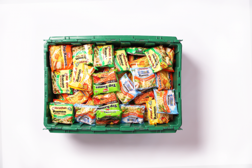A MakeSpace storage bin full of ramen packets