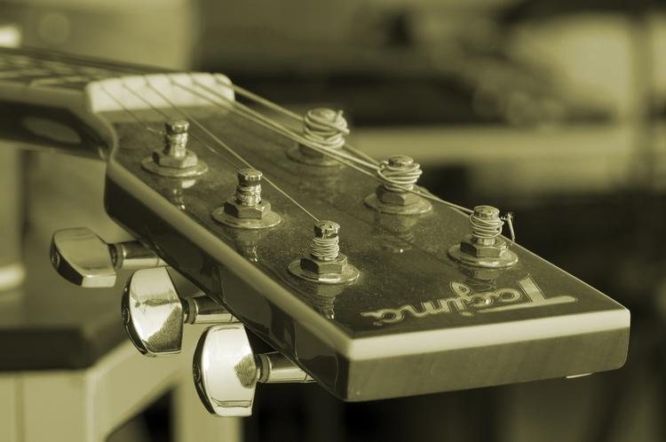 A closeup of a Tagima guitar's head.