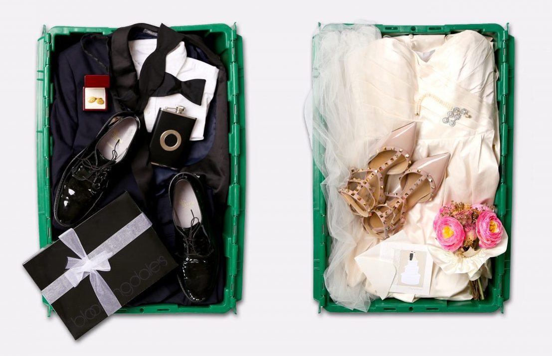 makespace wedding dress and tuxedo storage bin