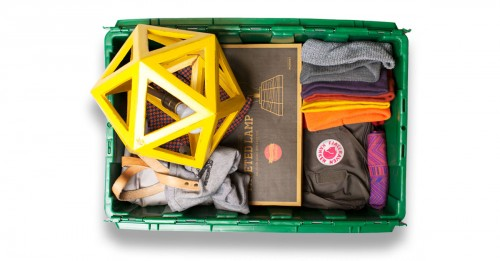 Scout Sixteen founder and lifestyle blogger Justin Livingston's MakeSpace bin is used for hat, jacket, pants, clothes, and bag storage in NYC.