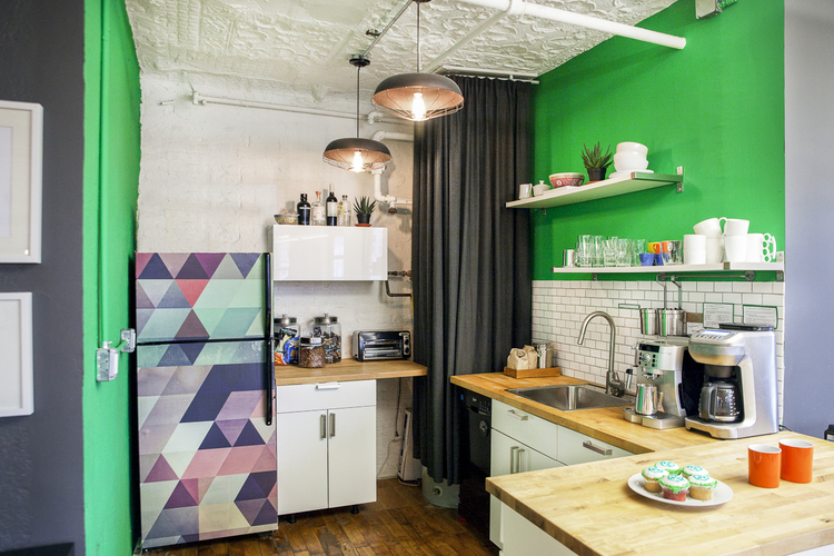 MakeSpace HQ's colorful kitchen in Manhattan.