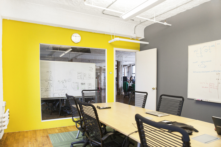 The bigger conference room at MakeSpace HQ in New York City.