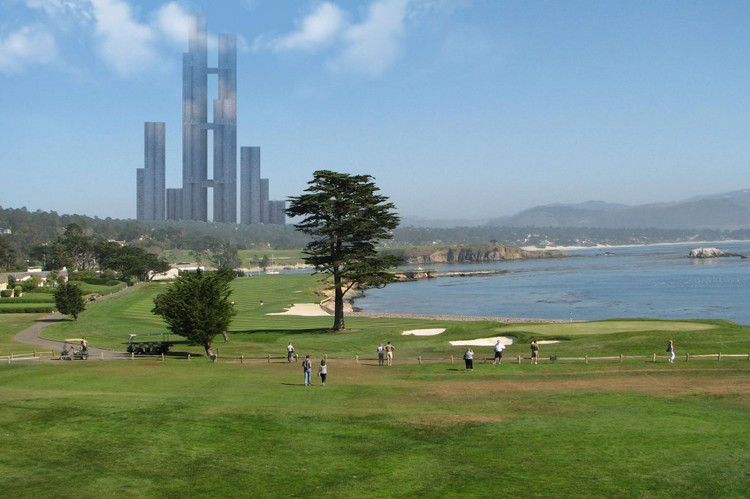 A vertical city skyscraper is shown during the daytime in beautiful weather and next to a park and body of water.