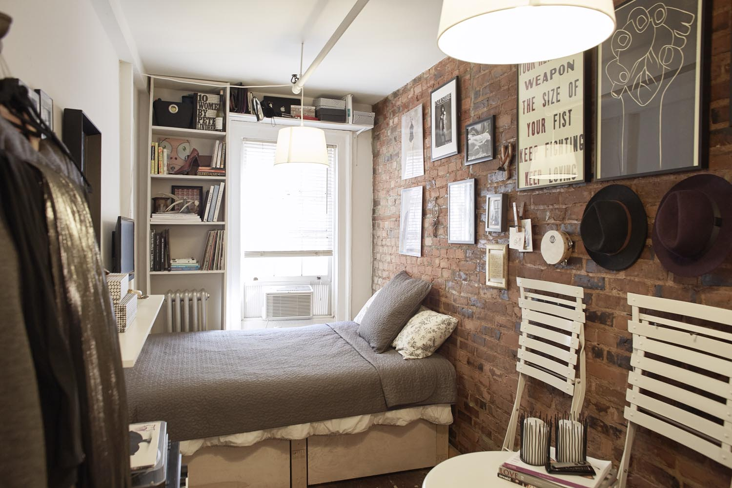 Interior of Mary Helen Rowell's 90 sq ft home in Manhattan's West Village