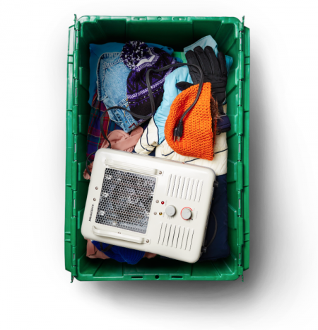 Professional organizer Beth Penn's MakeSpace bin is used for winter storage in Los Angeles.