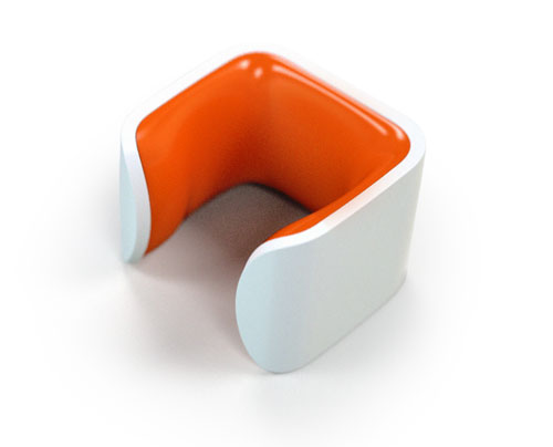 a white-orange clug, the world's smallest bike storage rack