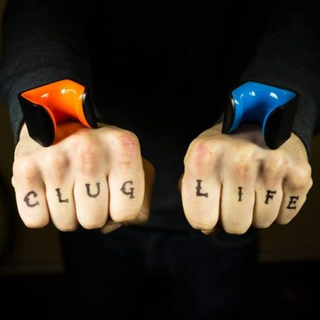 clug life hand tattoos with black-orange and black-blue clug bike clips on top of each hand