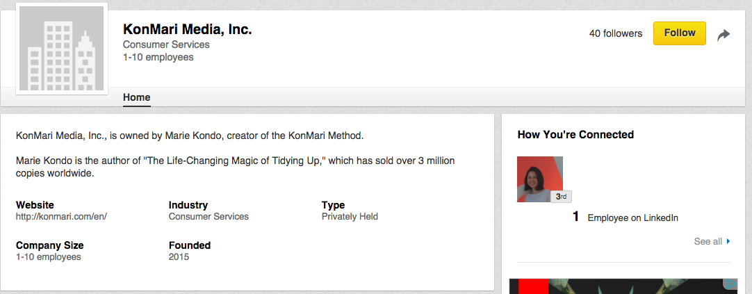 A screenshot of KonMari Media, Inc.'s (a media company owned by famous organizing consultant and best-selling author Marie Kondo) LinkedIn company page.