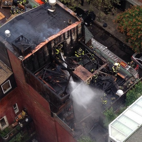 The famous East Village rooftop cottage burned down.