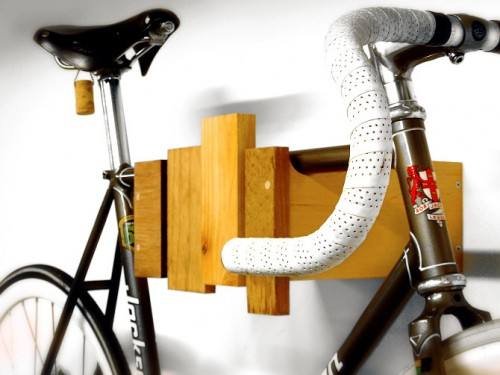 Cantilever And Press' wall mount bike storage rack resembles a wooden xylophone.