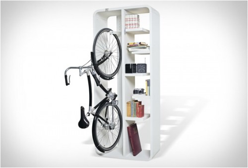 Byografia's Bookbike, which is also a bookcakse, is bike storage and book storage made simple.