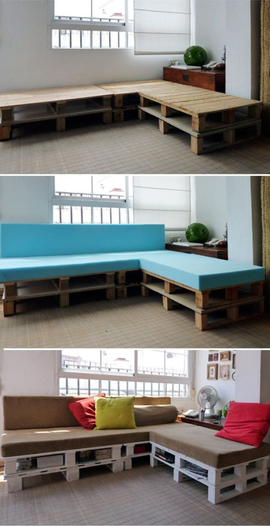 A comfortable DIY wood pallet corner sofa with book storage space.
