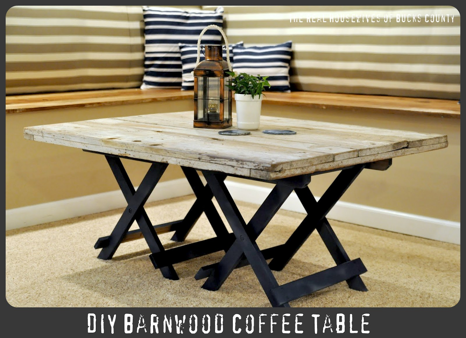 Upcycle wood pallets into a DIY coffee table.
