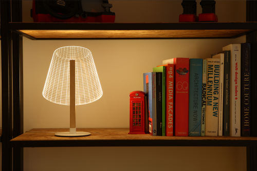 Studio Cheha's 2D/3D CLASSi BULBING lamp is on a bookcase's storage shelf.