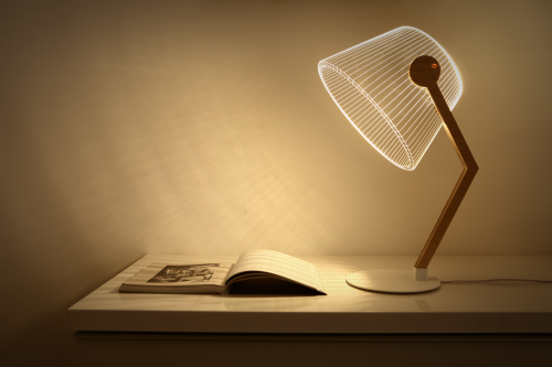Studio Cheha's 2D/3D ZIGGi BULBING lamp is on a desk with storage and illuminating an opened book.