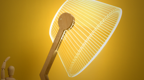 A closeup of Studio Cheha's 2D/3D ZIGGi BULBING lamp.