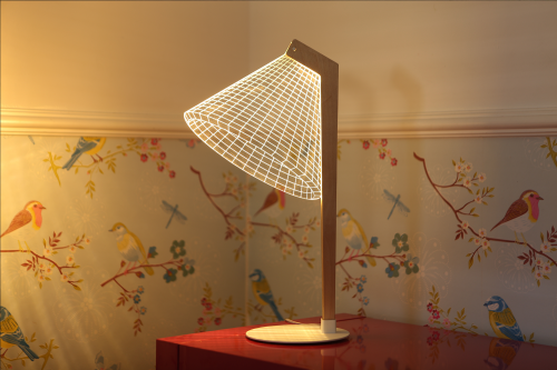 Studio Cheha's 2D/3D DESKi BUBLBING lamp is on a storage dresser in a small apartment's bedroom.