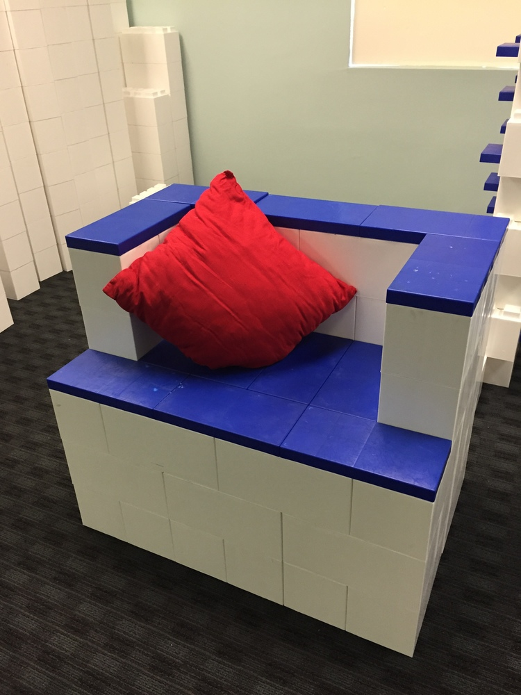 This chair is made of EverBlocks, which look and behave like life-size LEGOs.