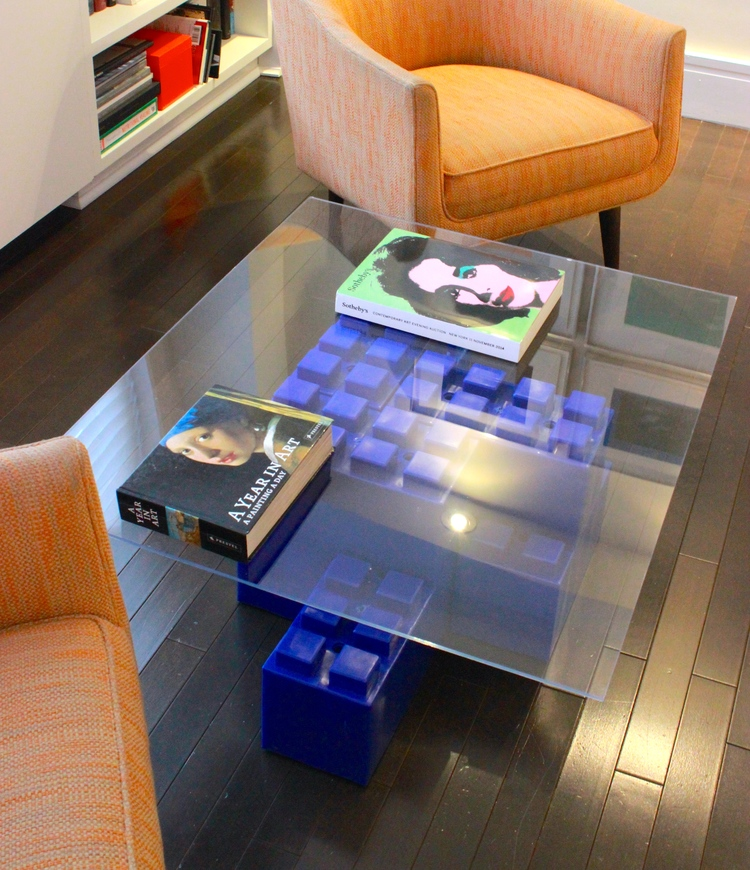 A coffee table made of EverBlocks, which are basically big LEGO bricks.