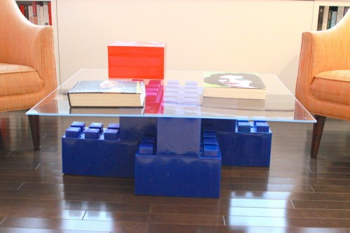 A blue giant LEGO coffee table made of EverBlocks.