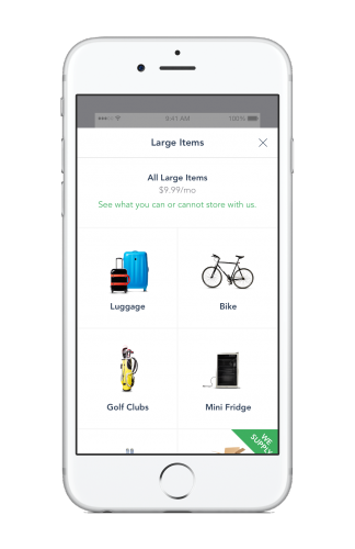 The MakeSpace app showing the prices for luggage, bike, golf club, and mini fridge on-demand storage in Chicago and Washington, DC.