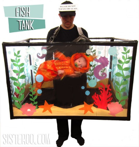 A DIY Halloween costume fish tank with storage space for your baby.
