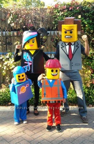 A family of LEGO movie characters wearing DIY Halloween costumes.
