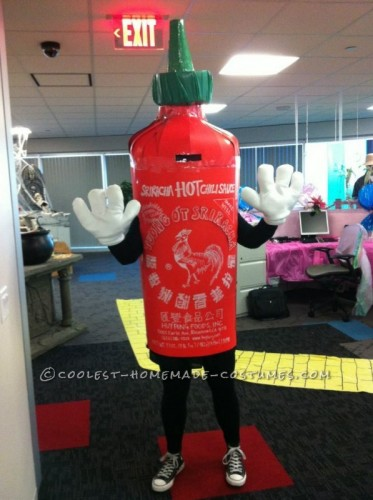 A homemade Sriracha bottle Halloween costume.