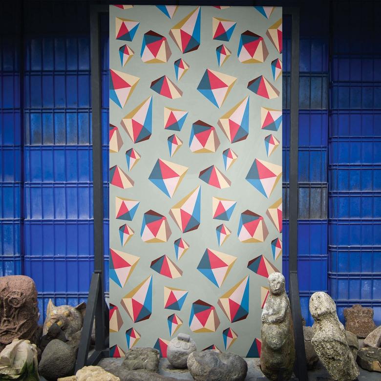 """Playtime Diamonds"" Feathr wallpaper by Paris-based graphic designer and illustrator Marie Battini"