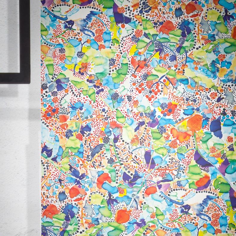 """""""La Cueillette"""" Feathr wallpaper by London-based painter and illustrator Claire de Quénetain."""