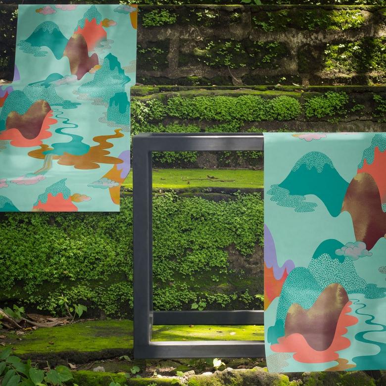 """Dreamscape"" Feathr wallpaper by Helsinki-based textile designer and illustrator Vilma Pellinen."