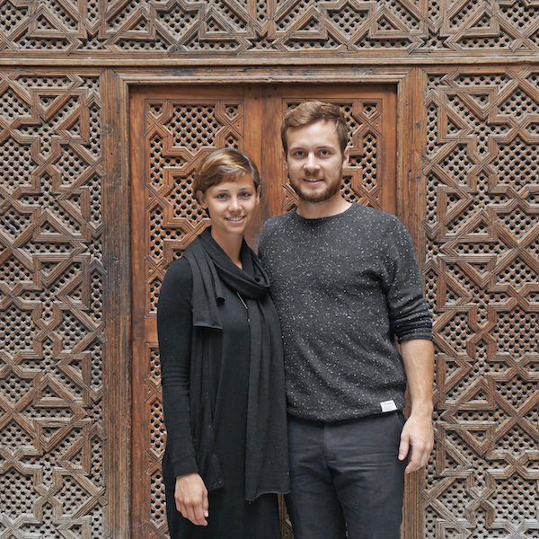 JUUST Design's designer and engineer, Julia Cancola, is standing next to the studio's founder and architect, Stefan Prattes.