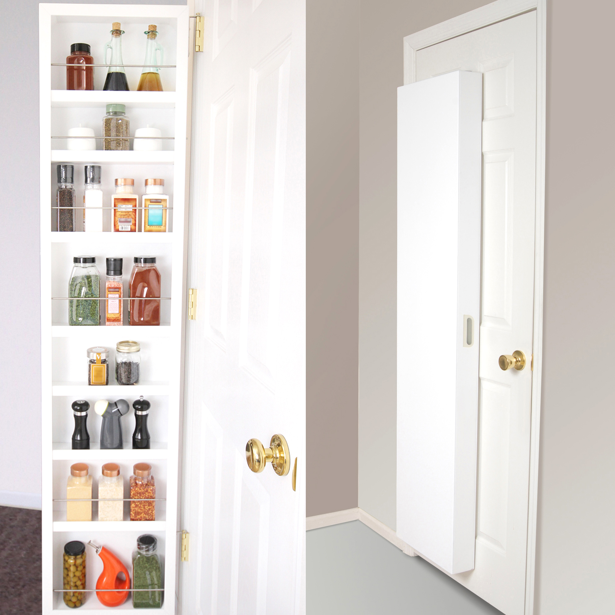 A split-screen of opened and closed Cabidors, portable storage cabinets that mount behind doors and make organizing small items easy.
