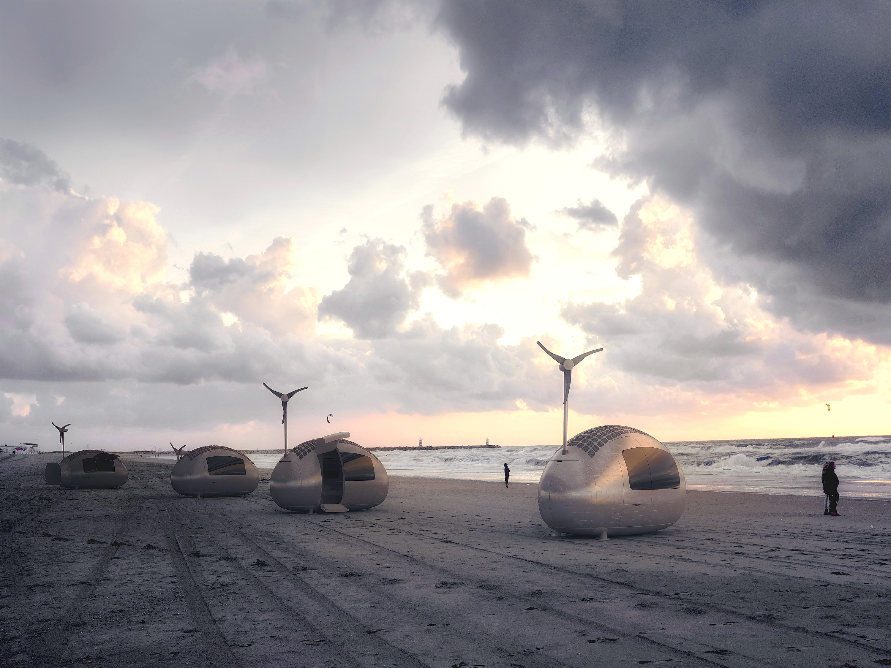 Four Ecocapsules, solar and wind powered tiny homes on wheels, are on the beach.