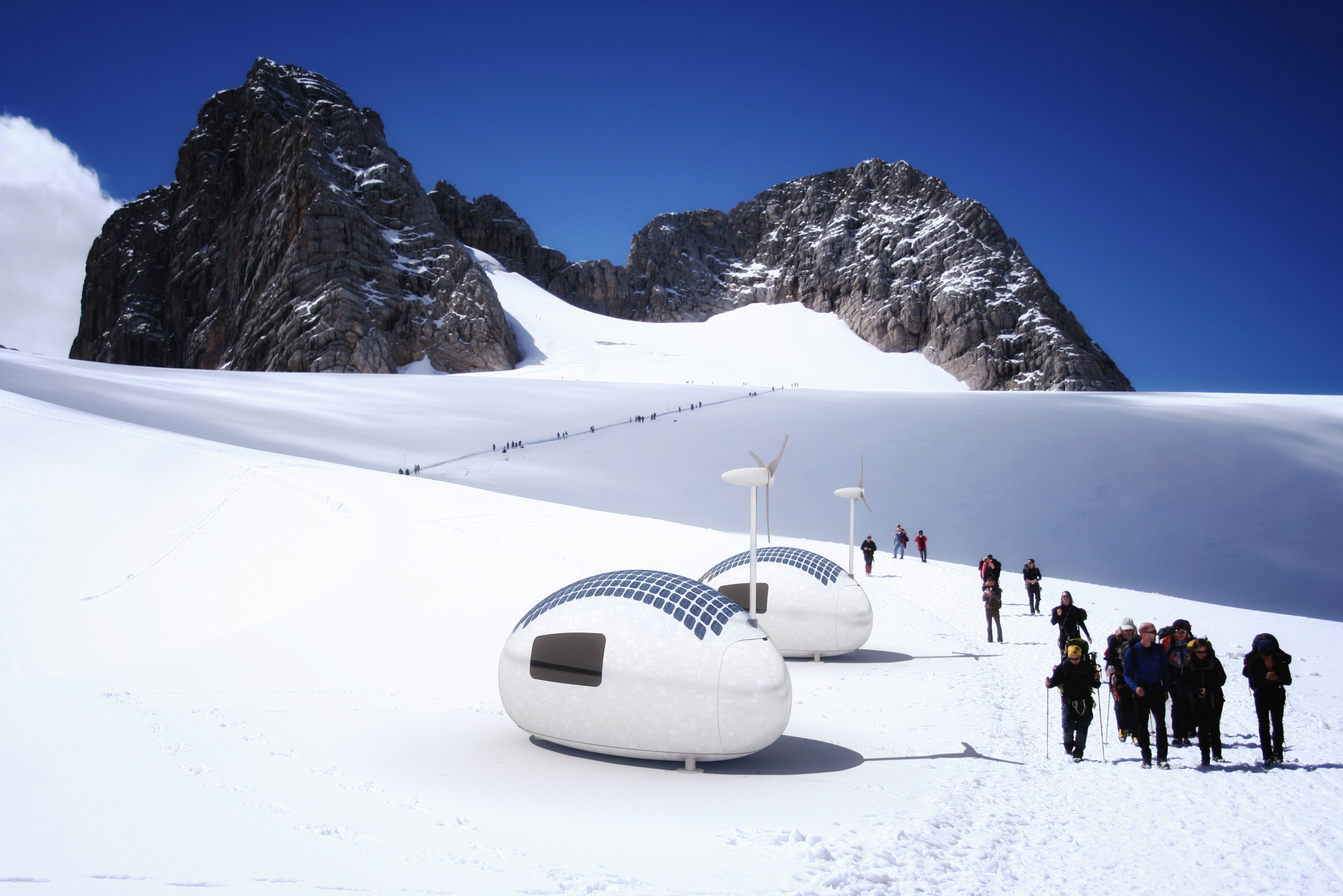 Skiers are walking by two Ecocapsules on a mountain covered by snow.