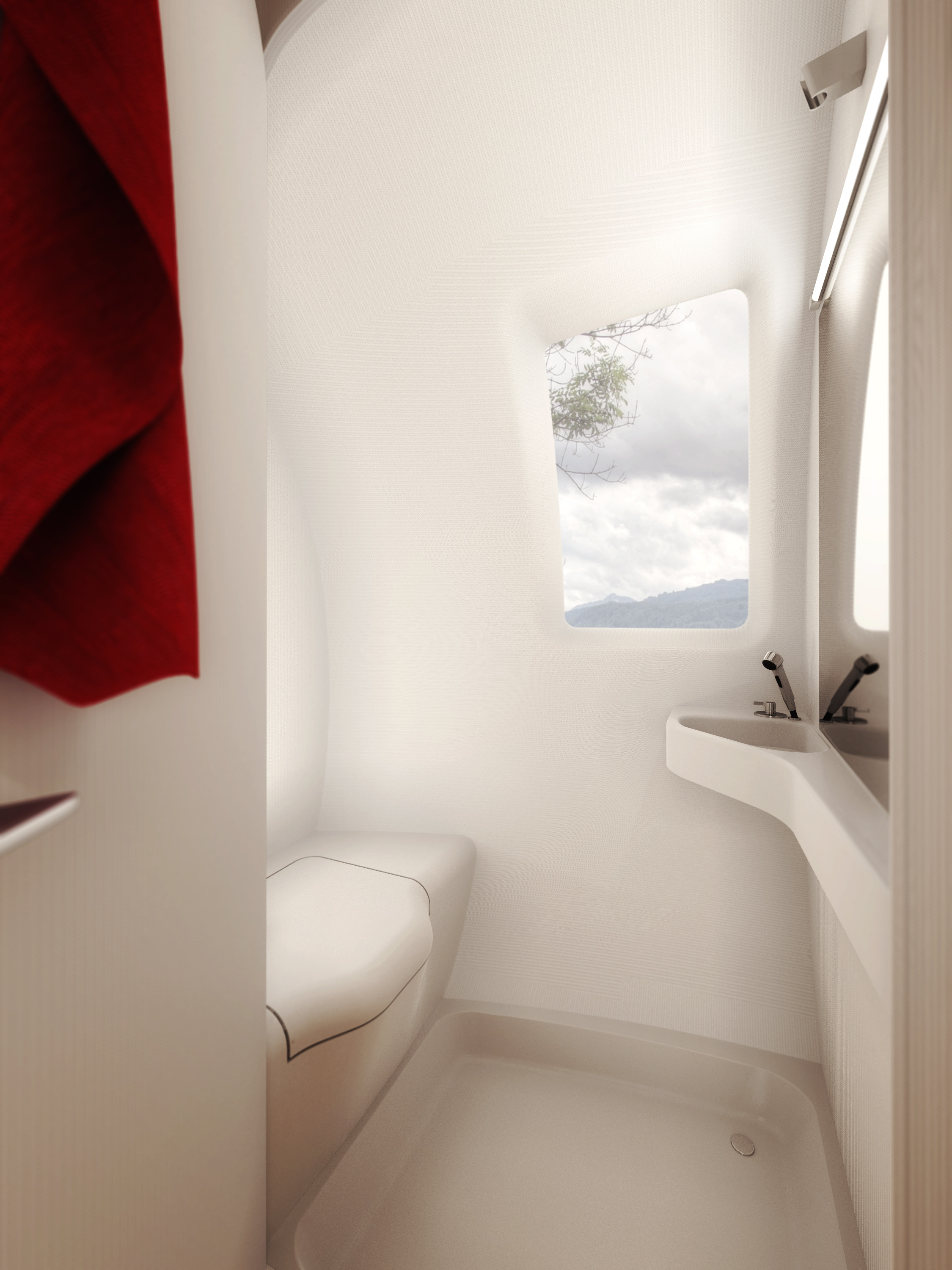 The Ecocapsule's bathroom has a shower, sink, window, mirror, and composting toilet.