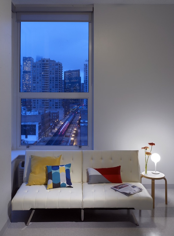 The living room of a Lake Street Studios micro-apartment in Chicago, Illinois.