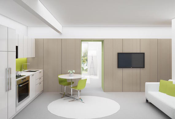 The mostly white kitchen/multipurpose living room in one of The Lanes' micro-apartments in Long Island City in Queens, New York.