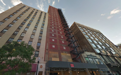 A Google street view of the 21-story building at 620 S Wabash Ave in South Loop that will be the tallest self-storage facility in Chicago, Illinois.