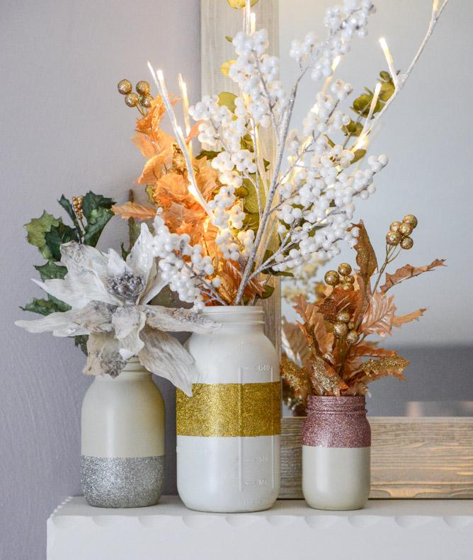 Diy Glittery White Mason Jars Vases Howsweetitis Makespace Blog