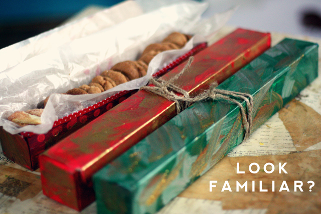 Upcycling aluminum foil and Saran wrap boxes into holiday cookie boxes is an easy and creative storage hack.