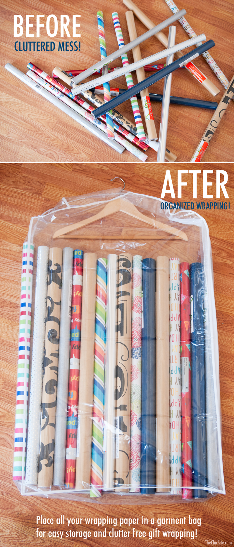 Storing rolls of gift wrapping paper in a clear garment bag is a smart holiday storage hack.