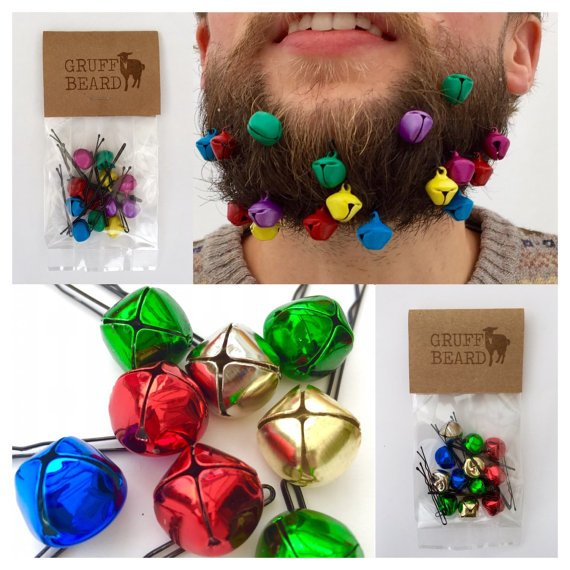 A man is storing jingle bells in his brown beard as a funny holiday decoration storage hack.
