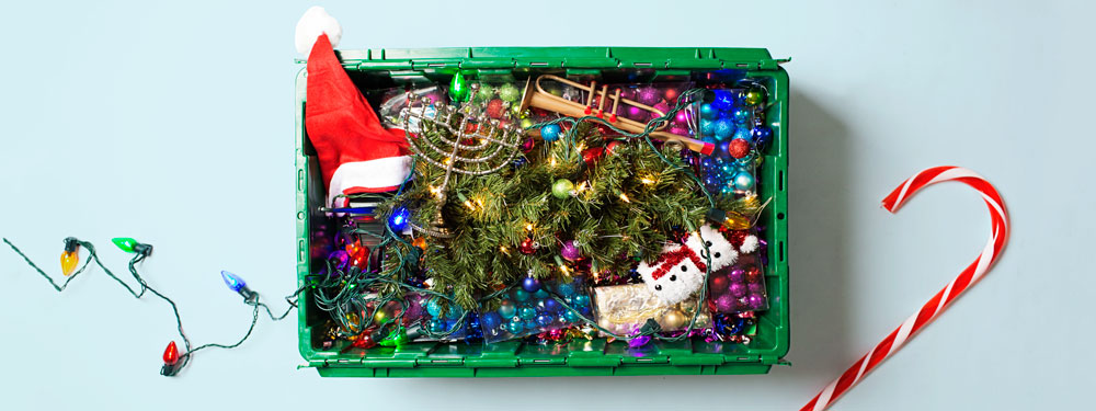A MakeSpace bin used for on-demand holiday decoration storage.